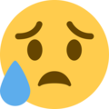 Sad but Relieved Face on Twitter Twemoji 12.1.4
